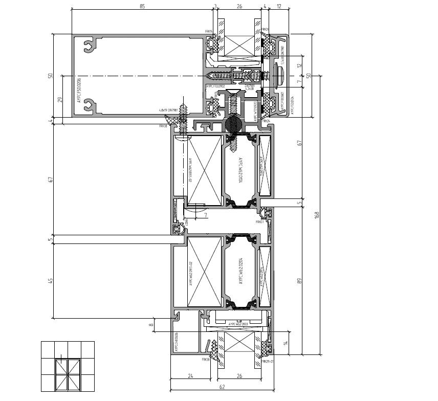 Сечение двери установленной в фасадку