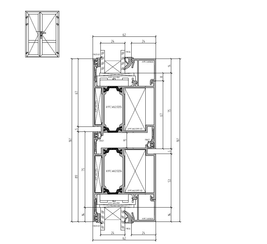 Сечение штульповой двери Алютех